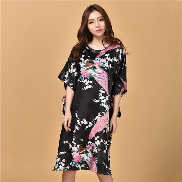 Novelty Print Satin Robe Dress - Novelty Women's Bath Gown-3-One Size-JadeMoghul Inc.
