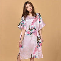 Novelty Print Satin Robe Dress - Novelty Women's Bath Gown-4-One Size-JadeMoghul Inc.