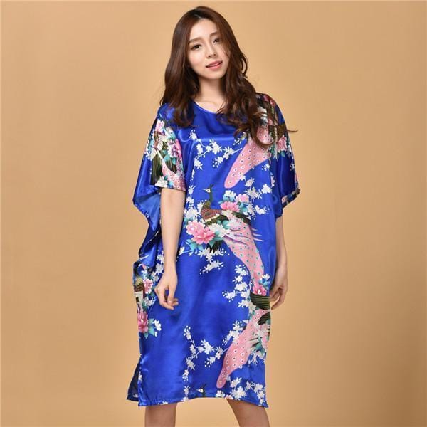 Novelty Print Satin Robe Dress - Novelty Women's Bath Gown-6-One Size-JadeMoghul Inc.