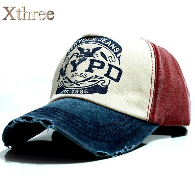 NYPD Casual Cap / Unisex Baseball Cap-dark blue and red-56to61cm-JadeMoghul Inc.
