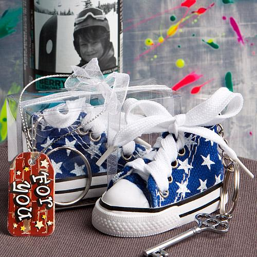 Oh-so-cute blue star print baby sneaker key chain-Personalized Gifts for Men-JadeMoghul Inc.