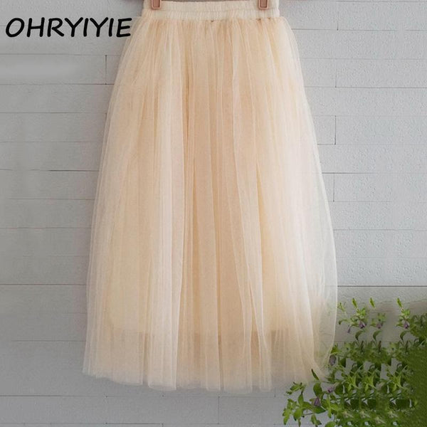OHRYIYIE Tulle Skirts Women 2017 Summer Casual High Waist Long Skirt Elastic Waist Sun Fluffy Tutu Skirt Jupe Longue Femme S1003-Beige-One Size-JadeMoghul Inc.