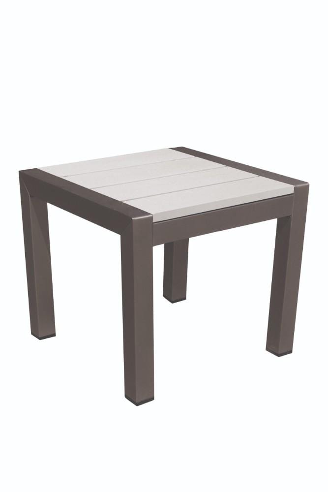 Outdoor Side Table, White-Outdoor Side Tables-WHITE-Aluminum And Plastic lumber (Recycled Plastic)-JadeMoghul Inc.