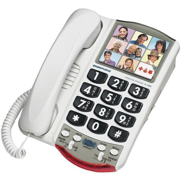 P300(TM) Amplified Corded Photo Phone-Special Needs Phones-JadeMoghul Inc.