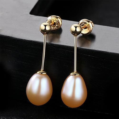 PAG&MAG Brand 8-9mm Rice Pearl Stud Earrings Jewelry Freshwater Pearl Women Earrings 3 Colors Choose Gift Simple Style-Pink-JadeMoghul Inc.