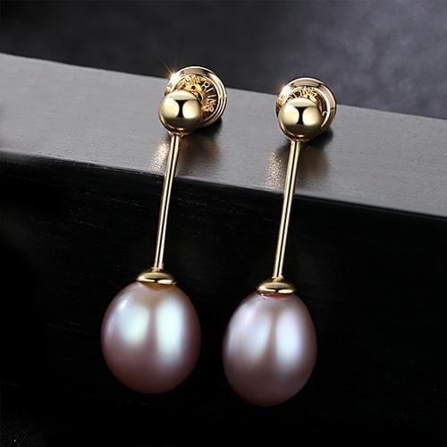 PAG&MAG Brand 8-9mm Rice Pearl Stud Earrings Jewelry Freshwater Pearl Women Earrings 3 Colors Choose Gift Simple Style-Purple-JadeMoghul Inc.