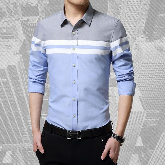 Patchwork Stripe Dress Shirt / Slim Fit Long Sleeve Shirt-Sky Blue-4XL-JadeMoghul Inc.