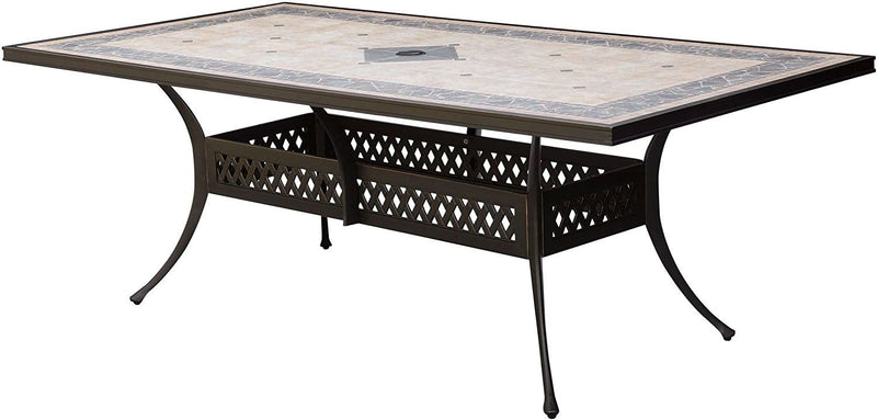 Patio Dining Table In Metal, Antique Black-Dining Tables-Antique Black-Metal-JadeMoghul Inc.
