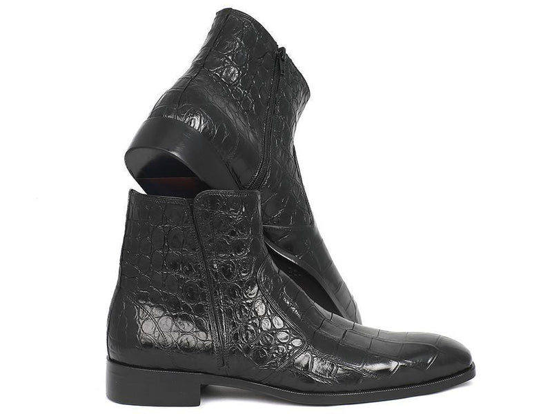Paul Parkman (FREE Shipping) Black Crocodile Side Zipper Boots (ID