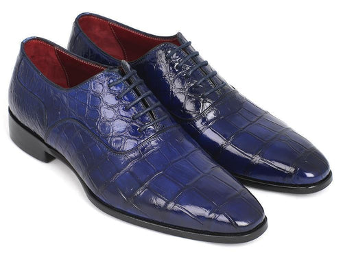 Paul Parkman (FREE Shipping) Blue Genuine Crocodile Oxfords (ID#21BZ55)-JadeMoghul Inc.
