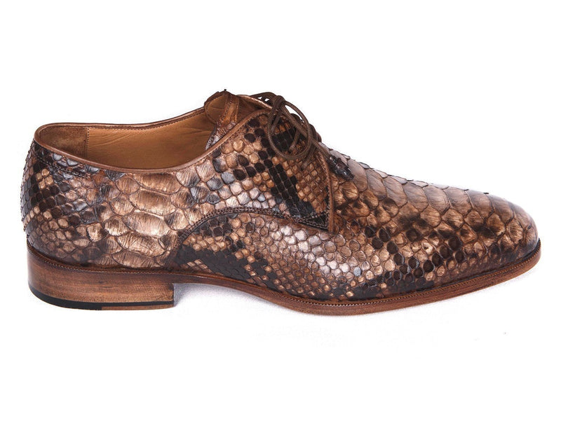 Paul Parkman (FREE Shipping) Brown Genuine Python Derby Shoes (ID
