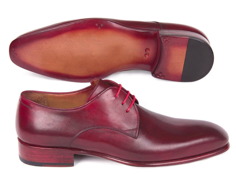 Paul Parkman (FREE Shipping) Burgundy Hand Painted Derby Shoes (ID
