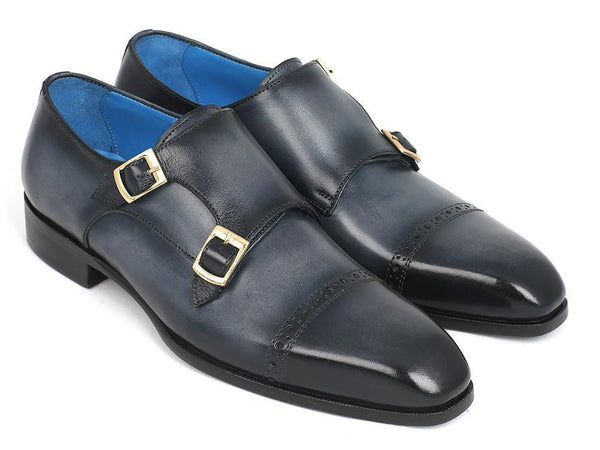 Paul Parkman (FREE Shipping) Captoe Double Monkstraps Navy (ID#045NVY62)-'--JadeMoghul Inc.