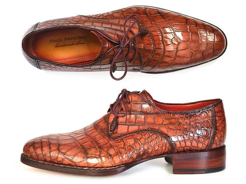 Paul Parkman (FREE Shipping) Genuine Crocodile Goodyear Welted Derby Shoes (ID#44Z87)-JadeMoghul Inc.