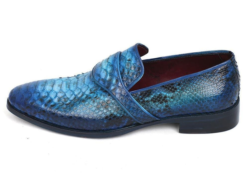 Paul Parkman (FREE Shipping) Genuine Python Loafers Turquoise (ID