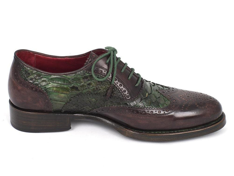 Paul Parkman (FREE Shipping) Goodyear Welted Green Genuine Python & Brown Calfskin Wingtip Oxfords (ID