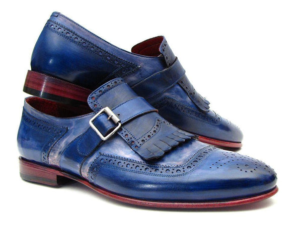 Paul Parkman (FREE Shipping) Kiltie Monkstrap Shoes Dual Tone Blue Leather (ID#12BL78)-'--JadeMoghul Inc.