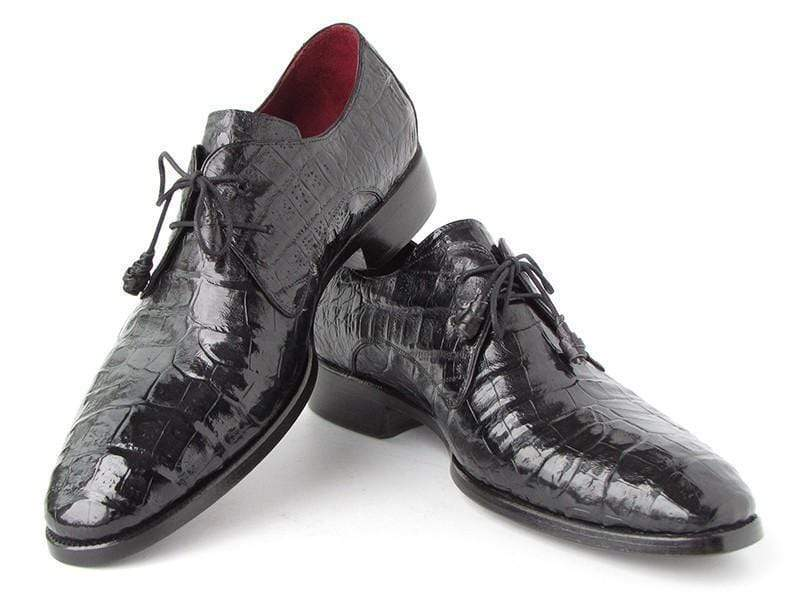 Paul Parkman (FREE Shipping) Men's Black Genuine Crocodile Derby Shoes (ID