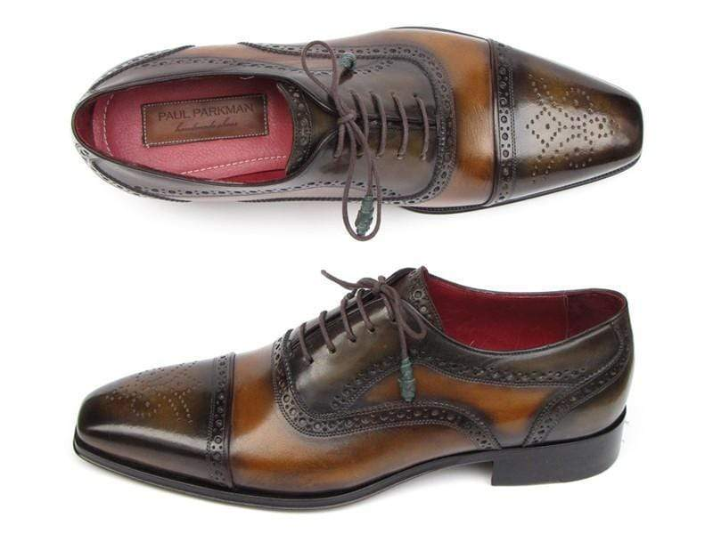 Paul Parkman (FREE Shipping) Men's Captoe Oxfords Camel & Olive Shoes (ID
