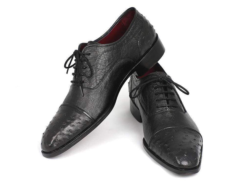 Paul Parkman (FREE Shipping) Men's Genuine Ostrich Captoe Oxfords Black (ID