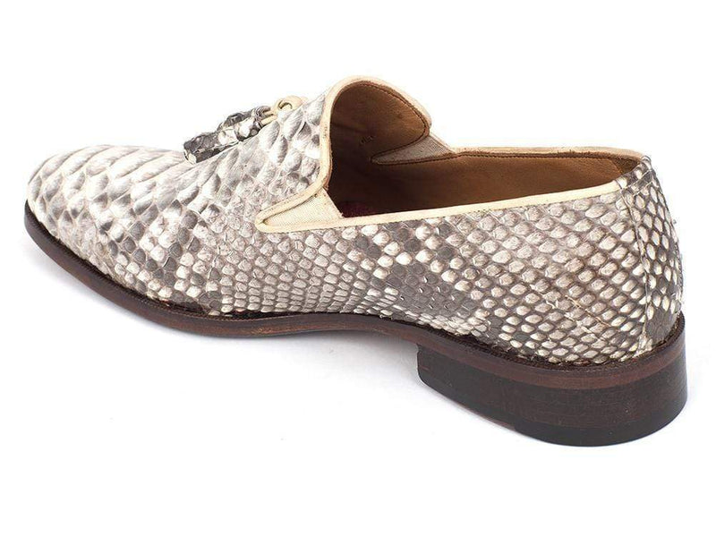 Paul Parkman (FREE Shipping) Men's Natural Genuine Python Tassel Loafers (ID