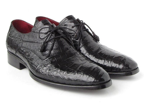 Paul Parkman (FREE Shipping) Men's Black Genuine Crocodile Derby Shoes (ID#55W77-BLK)-JadeMoghul Inc.