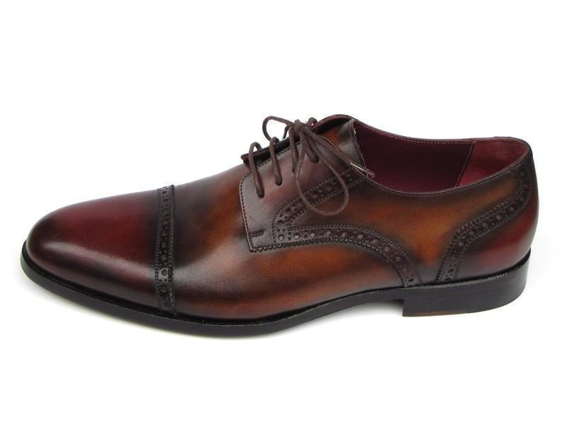 Paul Parkman (FREE Shipping) Men's Bordeaux / Tobacco Derby Shoes Leather Upper and Leather Sole (ID