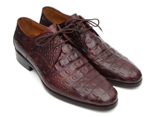 Paul Parkman (FREE Shipping) Men's Brown & Bordeaux Crocodile Embossed Calfskin Derby Shoes (ID#1438BRD)-JadeMoghul Inc.