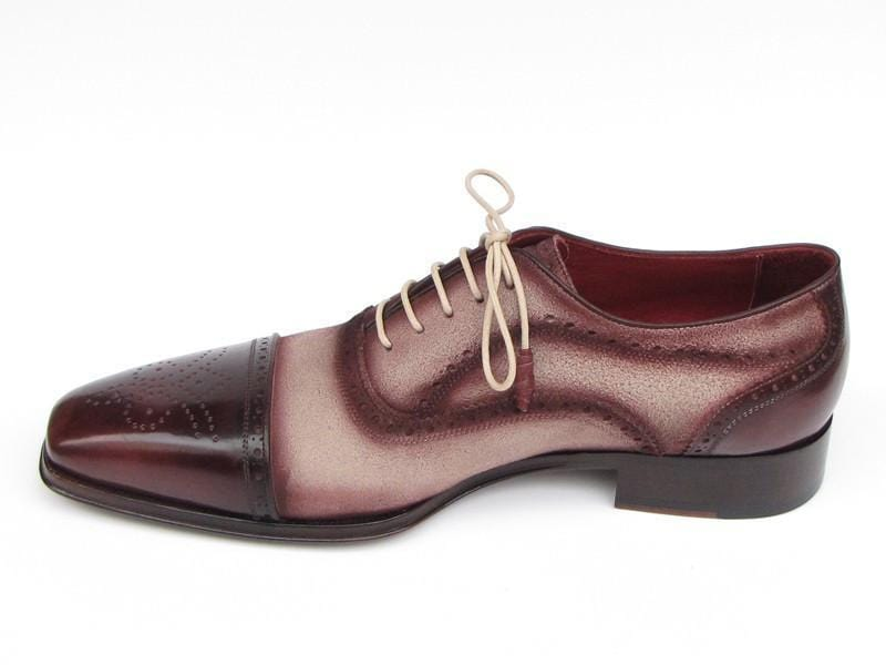 Paul Parkman (FREE Shipping) Men's Captoe Oxfords - Bordeaux / Beige Hand-Painted Suede Upper and Leather Sole (ID