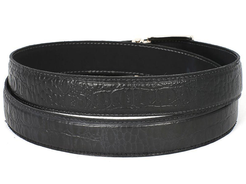 Paul Parkman (FREE Shipping) Men's Crocodile Embossed Calfskin Leather Belt Hand-Painted Black (ID