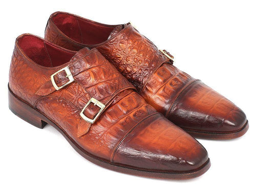 Paul Parkman (FREE Shipping) Men's Double Monkstrap Brown Crocodile Embossed Calfskin (ID#PP2280)-JadeMoghul Inc.