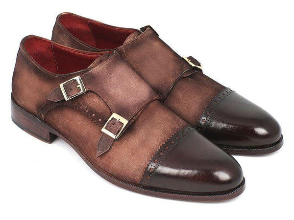 Paul Parkman (FREE Shipping) Men's Double Monkstrap Captoe Dress Shoes - Brown / Beige Suede Upper and Leather Sole (ID#FK09)-'--JadeMoghul Inc.