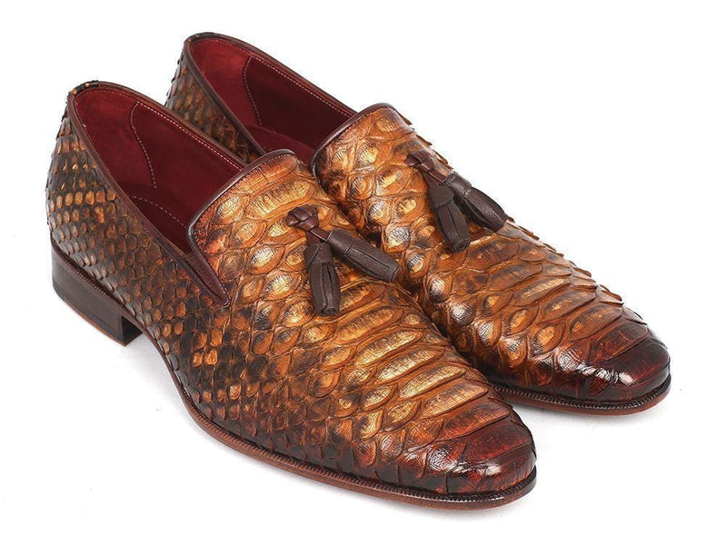 Paul Parkman (FREE Shipping) Men's Genuine Python Tassel Loafers Camel (ID