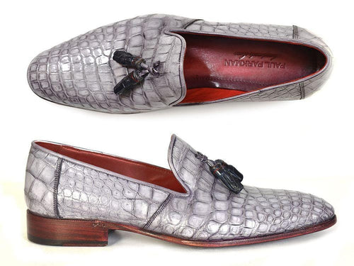 Paul Parkman (FREE Shipping) Men's Grey Genuine Crocodile Tassel Loafers (ID#44LF27)-JadeMoghul Inc.