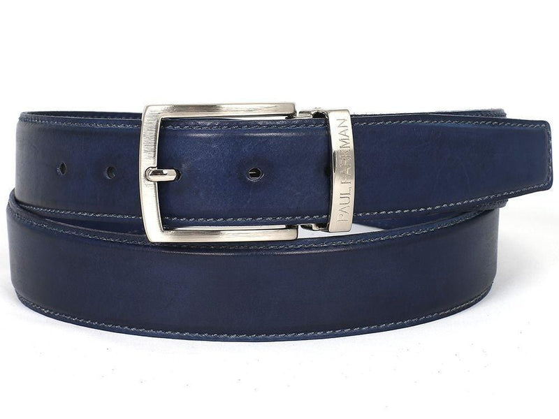 Paul Parkman (FREE Shipping) Men's Leather Belt Hand-Painted Navy (ID