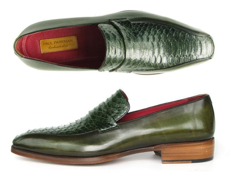 Paul Parkman (FREE Shipping) Men's Loafers Green Genuine Python with Green Handpainted Calfskin (ID