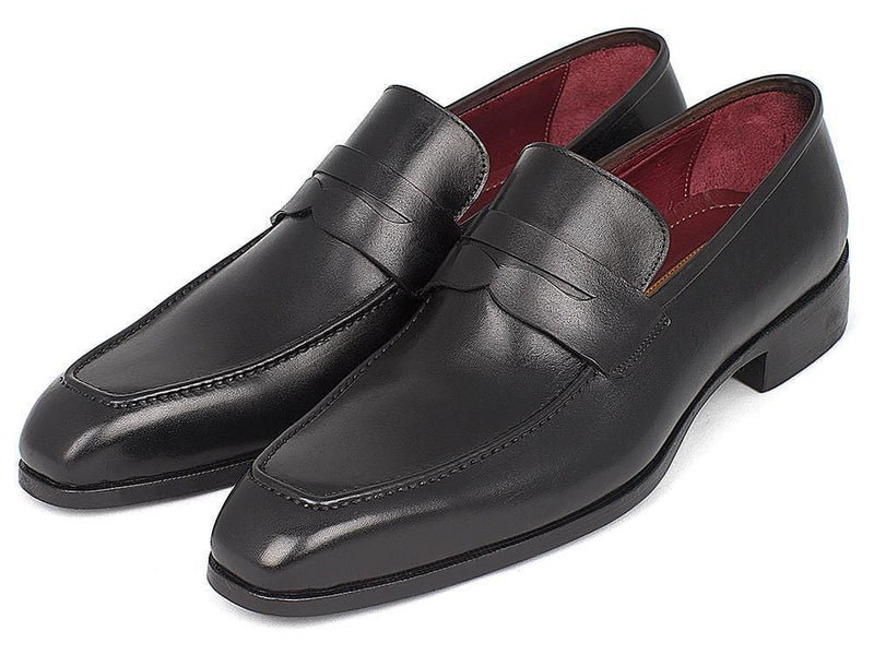 Paul Parkman (FREE Shipping) Men's Penny Loafers Black Calfskin (ID