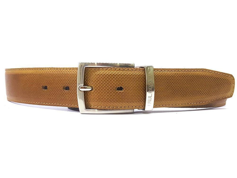 Paul Parkman (FREE Shipping) Men's Perforated Leather Belt Beige (ID