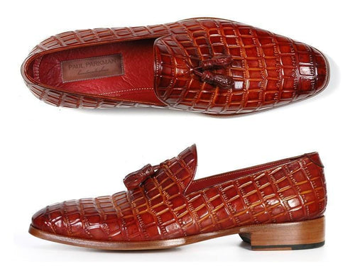 Paul Parkman (FREE Shipping) Men's Reddish Camel Crocodile Embossed Calfskin Tassel Loafers (ID#0823-RDSH)-JadeMoghul Inc.