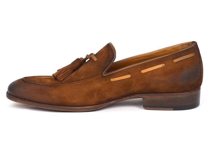 Paul Parkman (FREE Shipping) Men's Tassel Loafers Brown Antique Suede Shoes (ID
