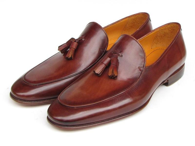 Paul Parkman (FREE Shipping) Men's Tassel Loafers Brown Hand Painted Leather (ID