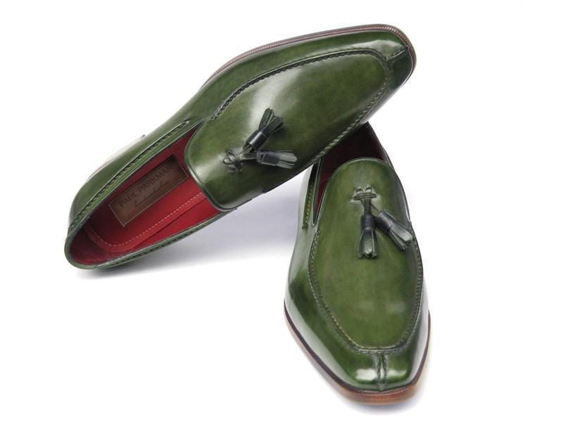 Paul Parkman (FREE Shipping) Men's Tassel Loafers Green Hand Painted Leather (ID