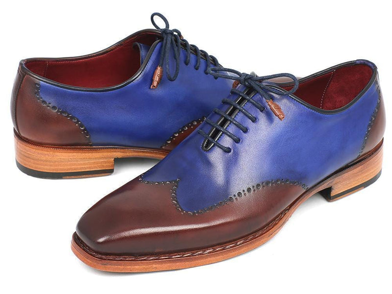 Paul Parkman (FREE Shipping) Men's Wingtip Oxford Goodyear Welted Blue & Brown (ID