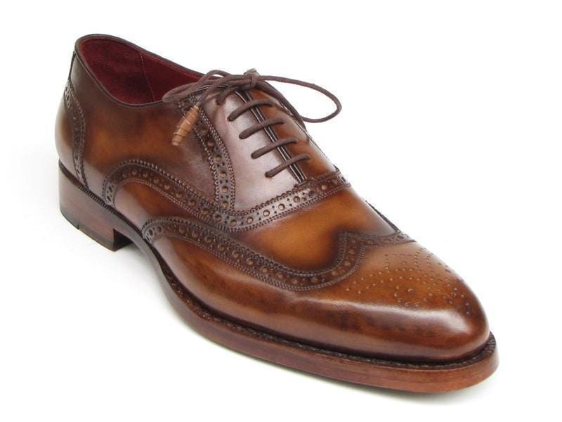 Paul Parkman (FREE Shipping) Men's Wingtip Oxford Goodyear Welted Tobacco (ID
