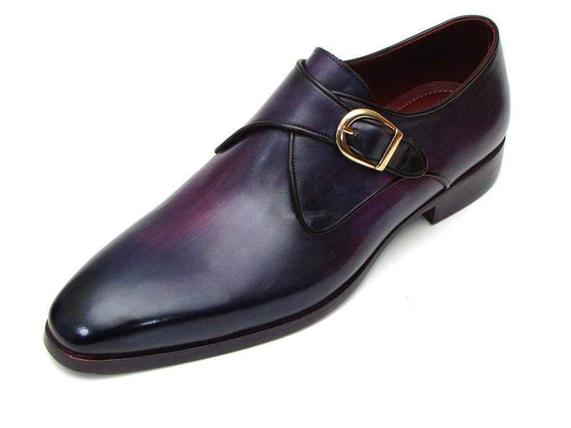 Paul Parkman (FREE Shipping) Single Monkstrap Shoes Purple Leather (ID