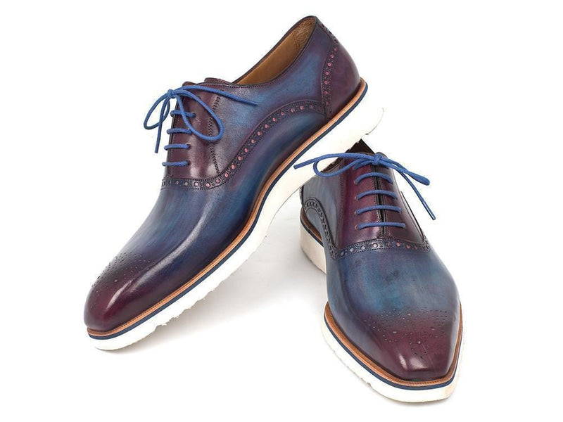 Paul Parkman (FREE Shipping) Smart Casual Oxford Shoes For Men Blue & Purple (ID