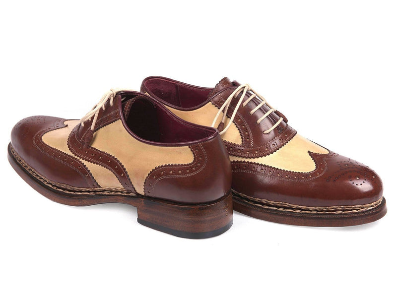 Paul Parkman (FREE Shipping) Triple Leather Sole Goodyear Welted Wingtip Brogues (ID