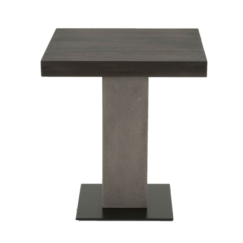 Pedestal Style End Table In Acacia Wood Slate Gray and Espresso Brown-Side Tables and End Tables-Brown, Gray & Black-Acacia Veneer Concrete Metal-JadeMoghul Inc.