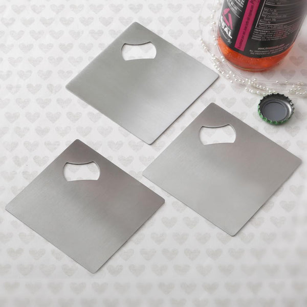 Perfectly plain collection Stainless steel coaster and bottle opener-Personalized Coasters-JadeMoghul Inc.