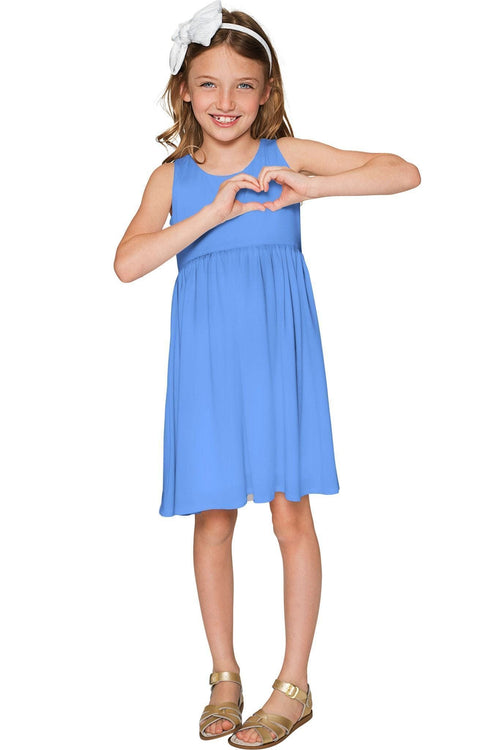 Periwinkle Blue Sanibel Pretty Empire Waist Dress - Girls-Solid-JadeMoghul Inc.
